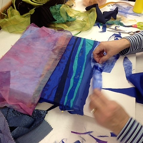 Student Fabric Artwork Progress