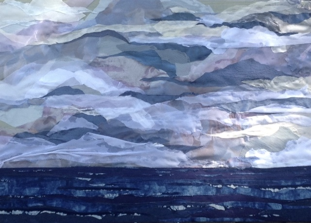 Fabric Artwork by Pam Collins titled Incoming Storm