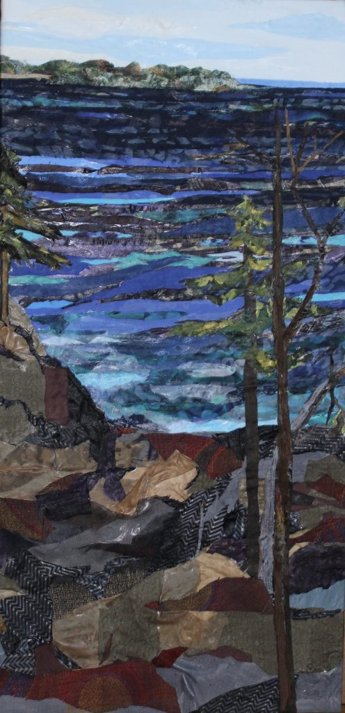 "Fabric painting by Pam Collins titled ""Acadia National Park"""