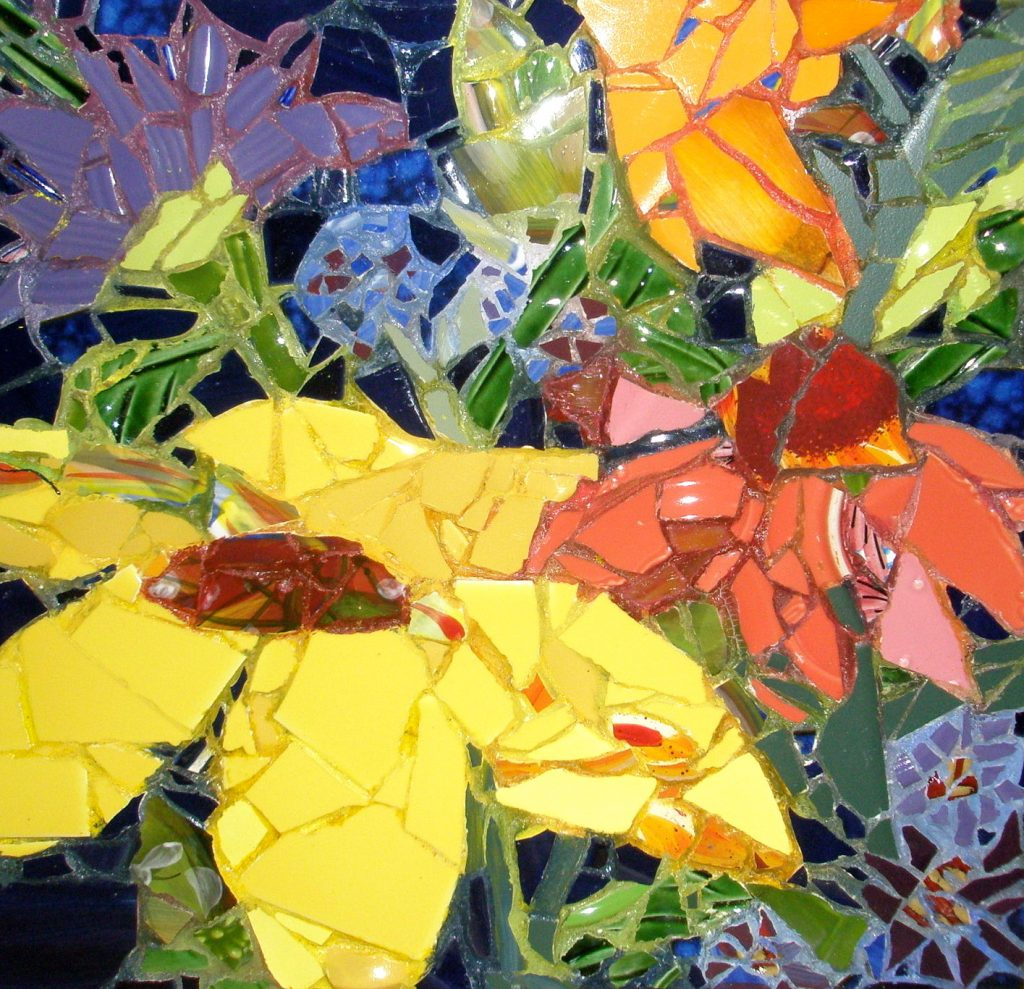 "Mosaic by Pam Collins titled ""Details of Floral"""