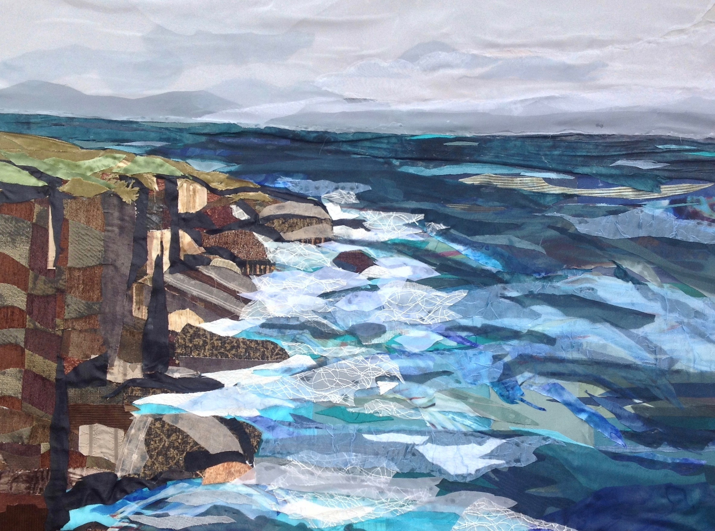 """Fabric painting by artist Pam Collins titled """"Moments of Azure"""""""