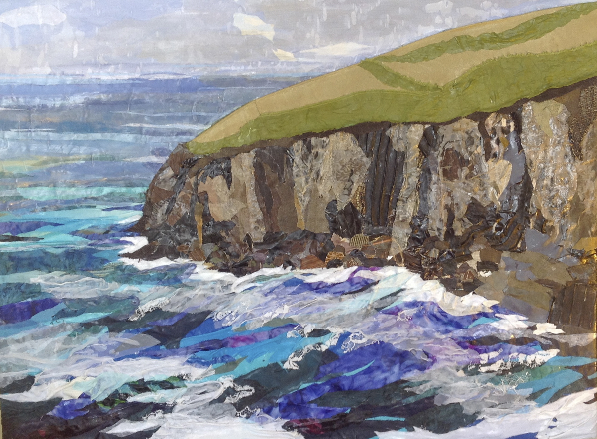 """Fabric painting by Pam Collins titled """"Ryan's Cove"""""""