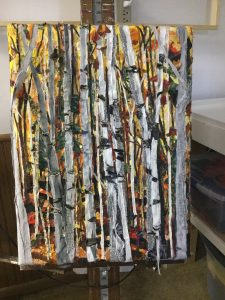 "Fabric art titled ""Trees Gone Wrong"""