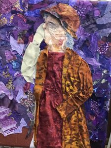 Fabric Art by Pam Collins showing a woman facing left