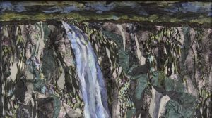 Fabric painting showing a waterfall by artist Pam Collins titled
