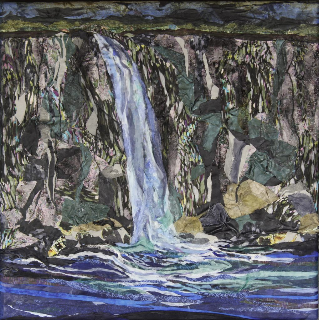 "Fabric painting showing a waterfall by artist Pam Collins titled ""Over the Edge"""