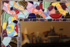 Corner of Mosaic Tiled Mirror