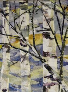 A close up of the fabric art New Home Birches by Pam Collins