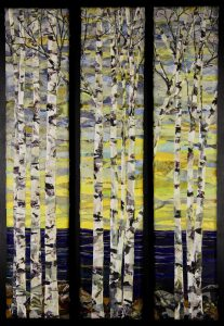 Tryptic fabric art piece by Pam Collins titled New Home Birches