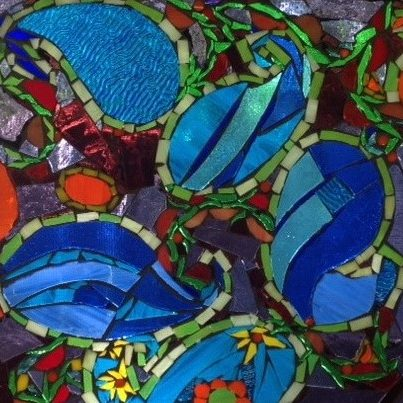 "Glass mosaic by Pam Collins titled ""Blue Paisley"""
