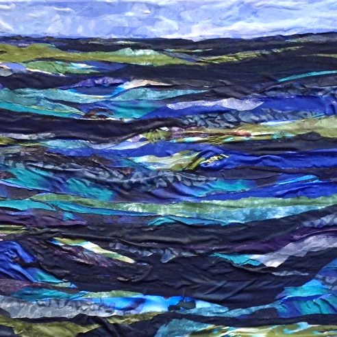 Fabric Artwork by Pam Collins titled Just Keep Swimming